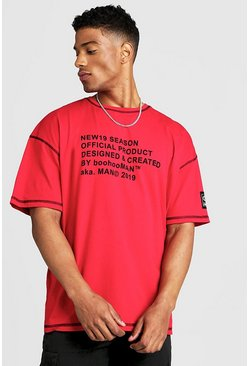 Mens Red New Season MAN Oversized T-Shirt