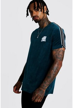 Mens Teal M Embroidered Velour T-Shirt With Tape