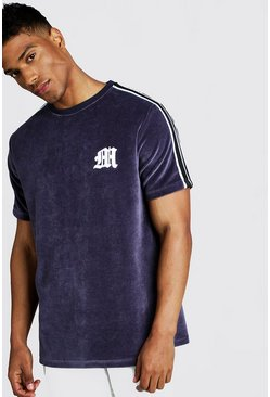 Herr Dark grey M Embroidered Velour T-Shirt With Tape