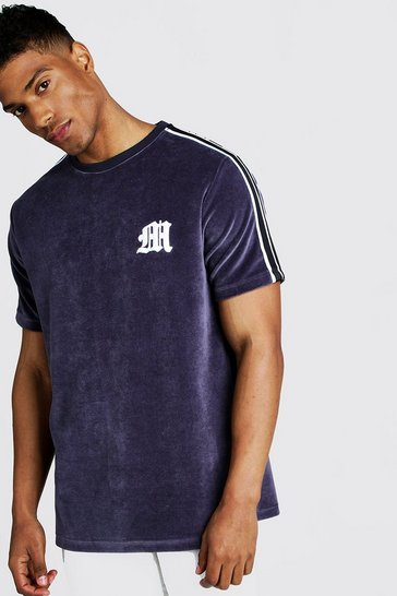 Mens Dark grey M Embroidered Velour T-Shirt With Tape