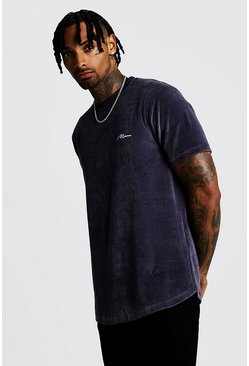 Mens Dark grey MAN Signature Velour Curved Hem T-Shirt