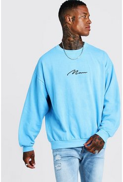 Herr Blue MAN Signature Oversized Washed Neon Sweatshirt