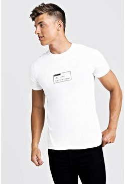 Front & Back Printed T-Shirt, White, HOMMES
