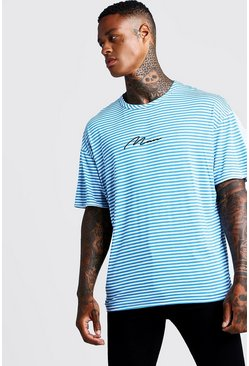 Mens Blue MAN Signature Oversized Stripe T-Shirt