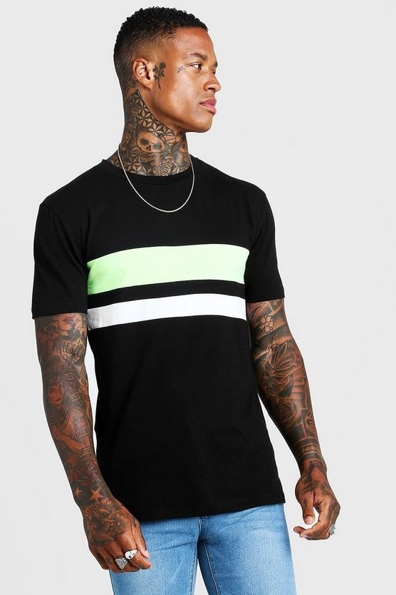 Black Neon Stripe Muscle Fit T-Shirt