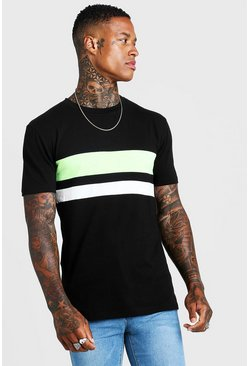 Mens Black Neon Stripe Muscle Fit T-Shirt