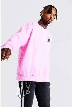 Mens Neon-pink Gothic M Oversized Sweatshirt In Washed Neon
