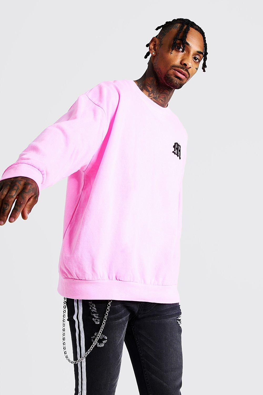 Gothic M Oversized Sweatshirt In Washed Neon | boohoo
