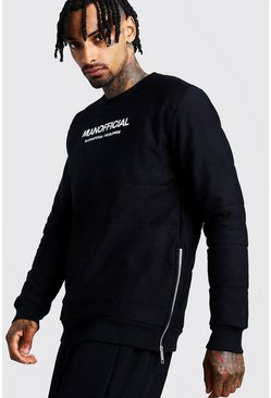 Black MAN Official Quilted Sweatshirt With Zips