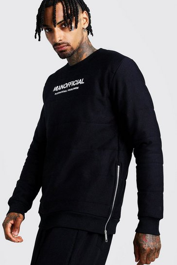 Mens Black MAN Official Quilted Sweatshirt With Zips
