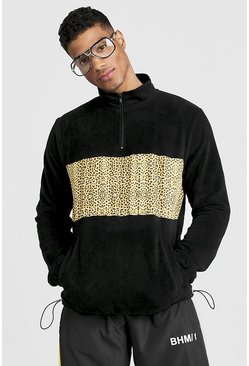 Herr Black Polar Fleece Funnel Zip Neck Sweatshirt With Print