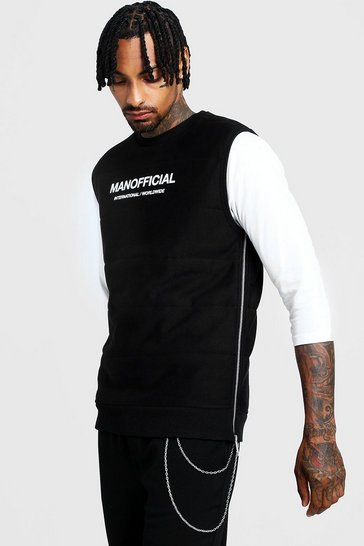 Mens Black MAN Official Quilted Vest With Zips