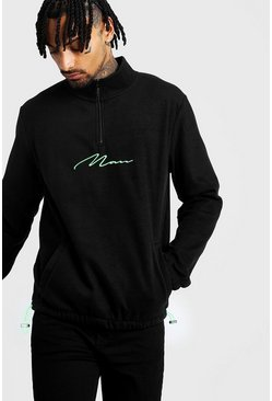 Mens Neon-green MAN Signature Funnel Neck Sweatshirt