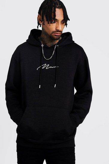 Mens Black MAN Signature Loose Fit Over The Head Hoodie