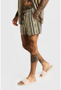 Mens Gold Baroque Striped Mid Length Swim Short