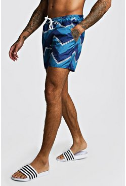 Blue Chevron Contrast Mid Length Swim Short