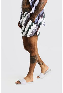 Mens Black Diagonal Stripe Mid Length Swim Shorts