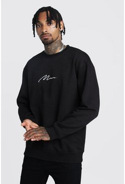 Black MAN Signature Loose Fit Drop Shoulder Sweatshirt