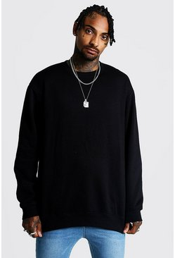 Mens Black Loose Fit Drop Shoulder Fleece Sweatshirt