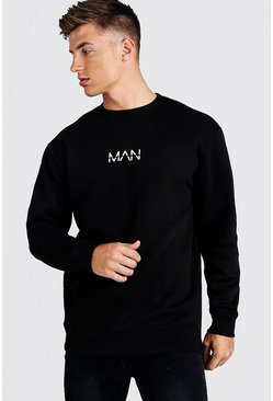Mens Black Original Man Longline Fleece Sweatshirt