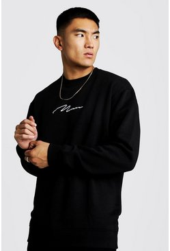 Herr Black Man Signature Lång sweatshirt i fleece med låg axelsöm