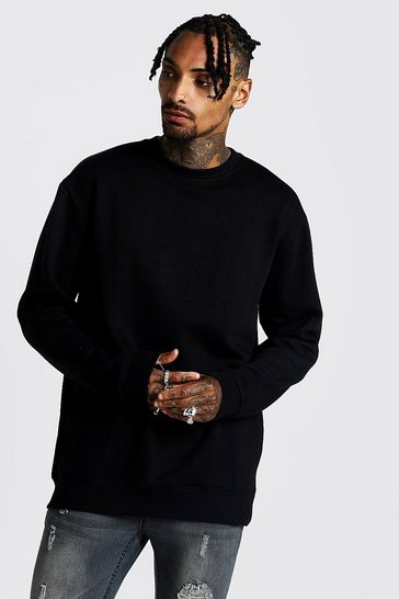 Mens Black Longline Crew Neck Fleece Sweatshirt