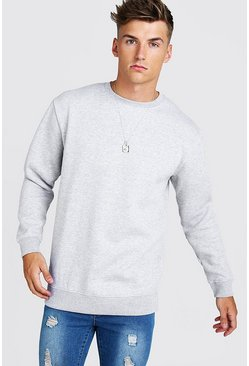 Grey Longline Crew Neck Fleece Sweatshirt