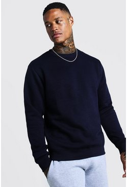 Herr Navy Basic sweatshirt i fleece med rund hals