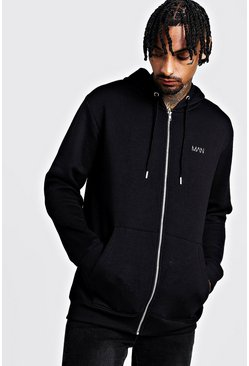 Black Original MAN Lång hoodie i fleece med lång dragkedja