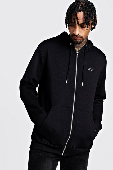 Mens Black Original MAN Longline Zip Thru OTH Fleece Hoodie