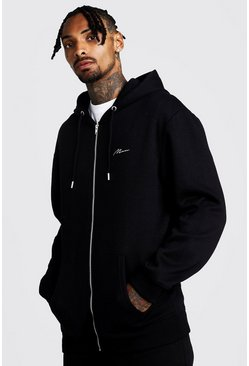 Mens Black MAN Signature Longline Zip Thru OTH Fleece Hoodie