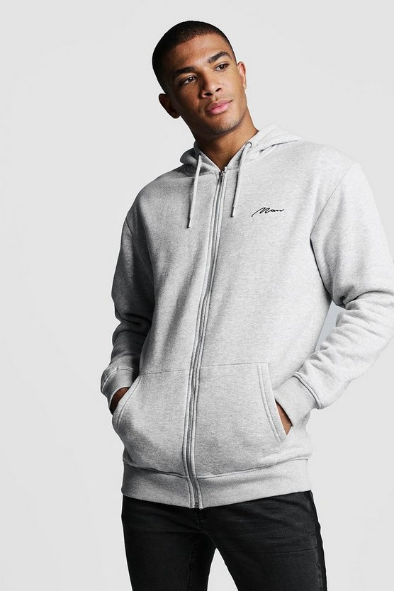 Grey MAN Signature Longline Zip Thru OTH Fleece Hoodie