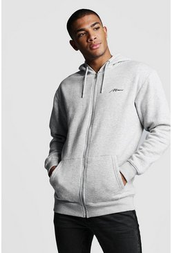 Mens Grey MAN Signature Longline Zip Thru OTH Fleece Hoodie