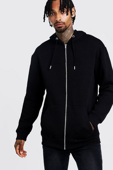 Mens Black Longline Zip Through Fleece Drop Shoulder Hoodie