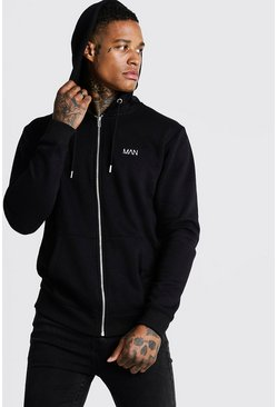 Mens Black Original MAN Zip Through Fleece Hoodie
