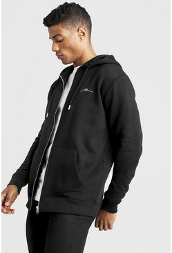 Mens Black MAN Signature Zip Through Fleece Hoodie