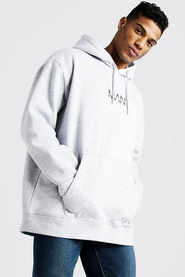 Mens Grey Original MAN Oversized OTH Fleece Hoodie