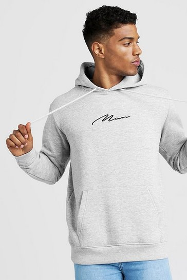 Mens Grey MAN Signature Oversized Over the head Hoodie