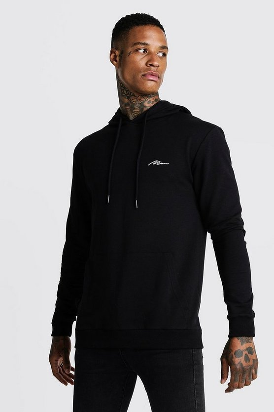 Black MAN Signature Muscle Fit OTH Hoodie