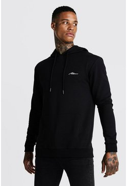 Herr Black Man Signature Hoodie med muscle fit