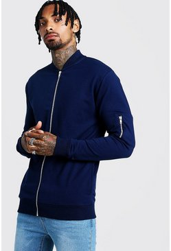 Mens Navy Muscle Fit Jersey Bomber Jacket
