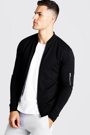 Mens Black Muscle Fit Jersey Bomber Jacket