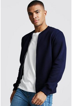Mens Navy Jersey Bomber Jacket