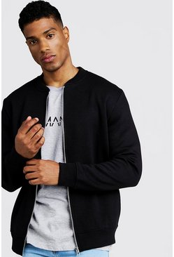 Mens Black Jersey Bomber Jacket