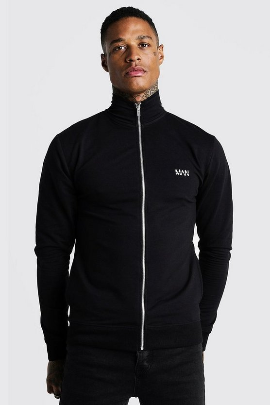 Herr Black Original MAN Muscle Fit Funnel Zip Thru Sweatshirt