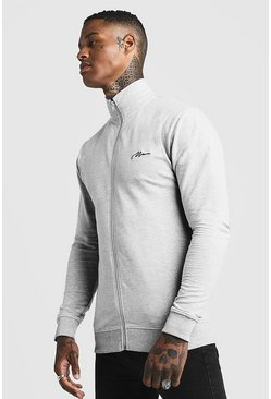 Mens Grey MAN Signature Muscle Fit Funnel Zip Thru Sweatshirt