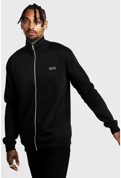 Mens Black Original MAN Funnel Neck Zip Through Sweatshirt