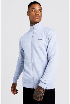 Grey Original MAN Funnel Neck Zip Through Sweatshirt