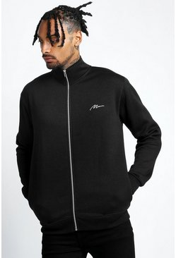 Mens Black Man Signature Funnel Neck Zip Through Sweatshirt