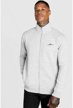 Mens Grey Man Signature Funnel Neck Zip Through Sweatshirt